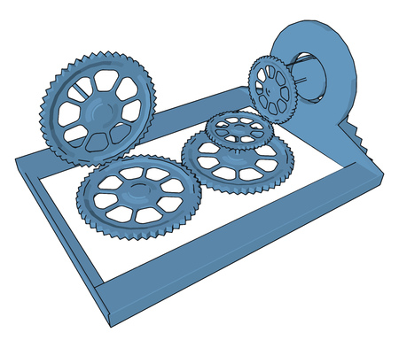 Four sprocket or sprocket wheels connected with each other to form a system or short mechanical device vector color drawing or illustration Illustration