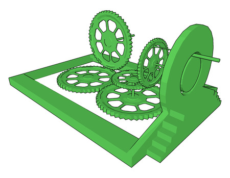 The sprocket combination can be seen in bicycle in which the pedal shaft carries a large sprocket-wheel which drives a chain vector color drawing or illustration