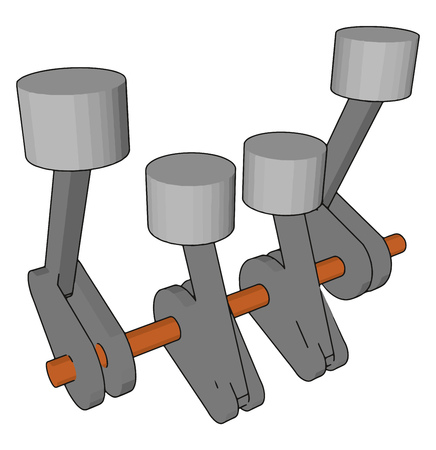 Piston or crankshaft It is a part of a machine having one connecting rods to which four jockey type handles are attached to operate or control any mechanical action vector color drawing or illustration