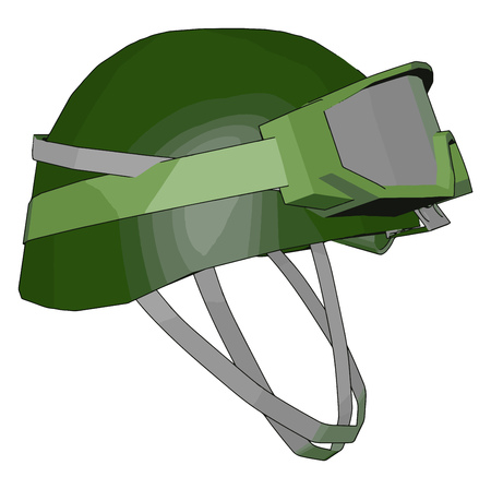 A combat helmet is a type of helmet a piece of personal armor with special goggles vector color drawing or illustration Иллюстрация
