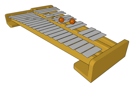 An Indian musical instrument played by stricking with a pair of small spoon shaped wooden hammers Top and bottom boards are made up of plywood or veneer vector color drawing or illustration