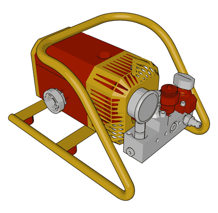 Automotive Industrial engine made up of some specific metal and alloy which is very expensive and durable vector color drawing or illustration