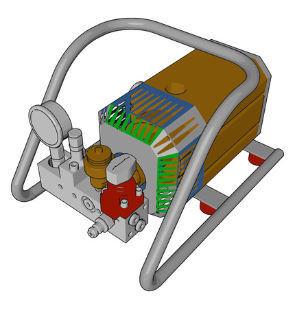 Small mechanical pump used in spraying in agricultural farm Manually started and powerful very efficient vector color drawing or illustration Ilustração