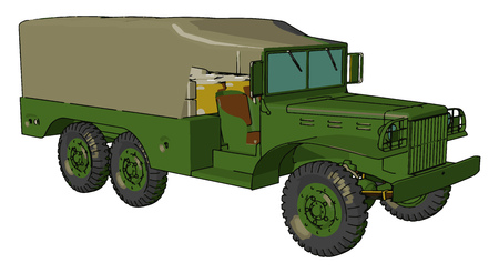 A military vehicle that includes all land combat and transportation vehicles specially designed for military forces vector color drawing or illustration