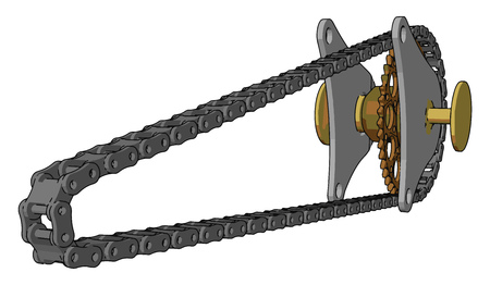 A chain drive is a way of transmitting mechanical power from one place to another it is often used to convey power to the wheels of a vehicle vector color drawing or illustration