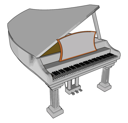 Piano can have many individual parts supporting six functional features: keyboard hammers dampers bridge soundboard and strings vector color drawing or illustration Illustration