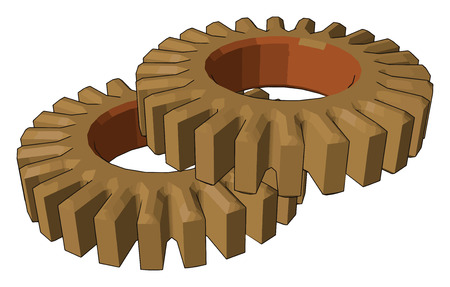 Spur gears have high power transmission efficiency they are compact and easy to handle It can be used to increase or decrease the torque power of a given object vector color drawing or illustration