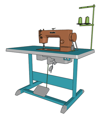 A sewing machine is a machine used to sew fabric and other materials together with thread invented during first industrial revolution vector color drawing or illustration