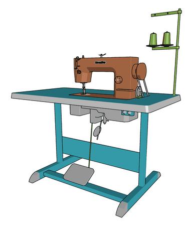 Maszyna do szycia to maszyna służąca do zszywania tkanin i innych materiałów razem z nicią wynalezioną podczas pierwszej rewolucji przemysłowej, wektorowego rysunku kolorowego lub ilustracji