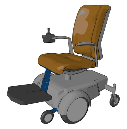 The electric wheelchair useful for not only traditionally mobility impaired person but also for people with cardiovascular and fatigue based conditions vector color drawing or illustration