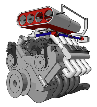 An heavy engine used for making the things easy It is invention of mechanical engineer vector color drawing or illustration Ilustracja