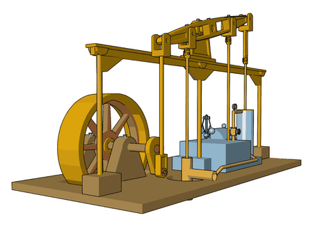 Reciprocating engines or steam engines are mainly used in complete steam plants railway steam locomotives beam engines and portable engines vector color drawing or illustration 일러스트