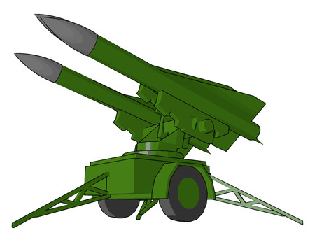 Missile is an object or powerful exploding weapon that is fired from a gun or thrown in order to hurt somebody vector color drawing or illustration