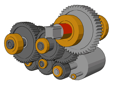 A gear bearing is a type of rolling-element bearing similar to an epicyclical gear It is consist of a number of smaller satellite gears which revolve around the centre vector color drawing or illustration