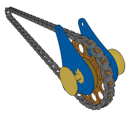 A chain drive system uses one or more roller chains to transmit power from a differential to arrear axle It is also known as transmission chain vector color drawing or illustration