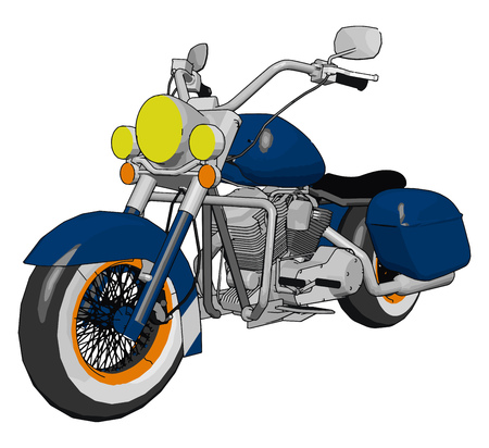 It has two wheels like bicycle and motor like car It mainly driven by one person vector color drawing or illustration