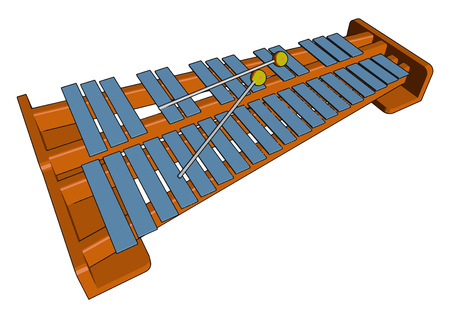 This is Indian santoor trapezoid shaped hammered dulcimer It is a traditional instrument in Jammu and Kashmir It was called shatha tantri vine in ancient time vector color drawing or illustration