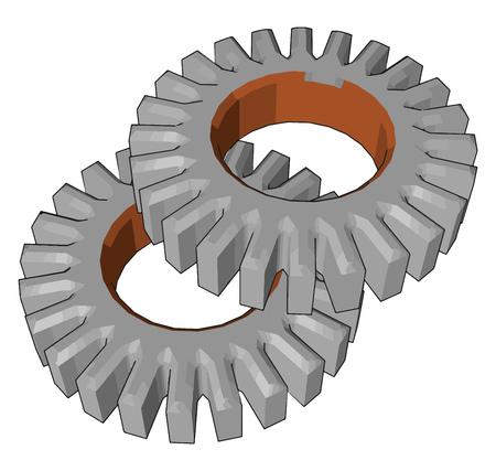 Spur gears are used in many devices like electric screwdriver dancing monster oscillating sprinkler windup alarm clock washing machine and clothes dryer vector color drawing or illustration