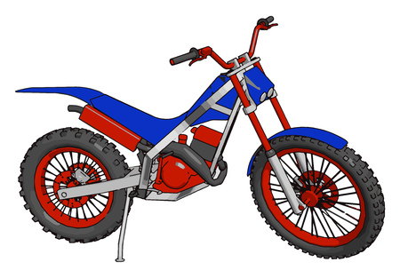 Motorbike used for sports is optimized for speed acceleration braking and concerning on paved roads vector color drawing or illustration Illustration