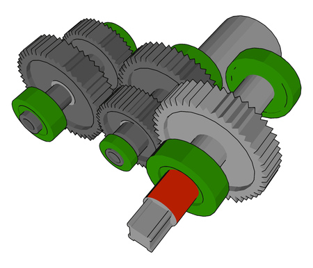 Maximum rolling and minimum sliding friction is main aim of bearing It increase efficiency Each gear is between two concentric rings vector color drawing or illustration Illustration