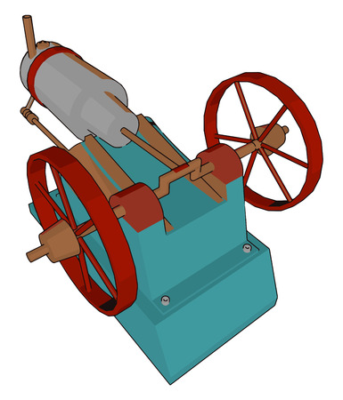 It is a part of any big machine to serve any specific task in order to reduce the workforce It is mechanical engine device vector color drawing or illustration