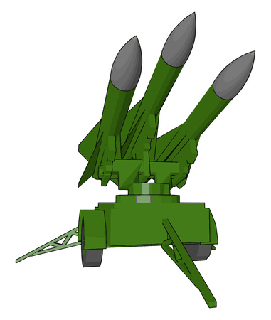 Missiles are weapon used by military in war It is very powerful can destroy the target completely vector color drawing or illustration