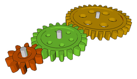 The sprockets are used in bicycles motorcycles cars tracked vehicle and other machinery to transmit rotary motion between two shafts vector color drawing or illustration