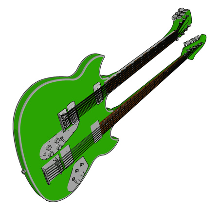 Different parts of this double bass guitar is headstock nut neck tuners or machine heads body waist frets and fingerboard or fretboard etc vector color drawing or illustration