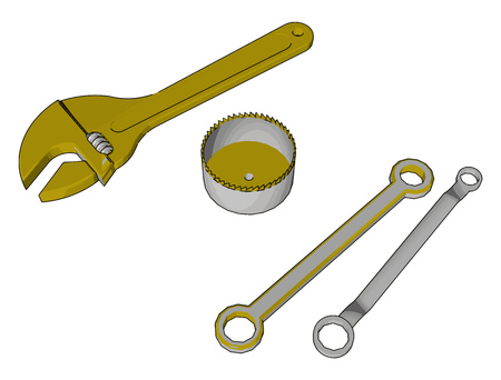 Hand tool used for tight the nuts and bolts or keep them from turning They are chrome plated to resist corrosion and for ease of cleaning vector color drawing or illustration