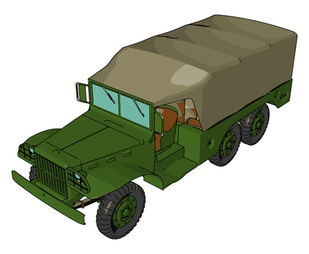 A Military truck is a vehicle designed to transport troops fuel weapons and military supplies to the battlefield vector color drawing or illustration 일러스트