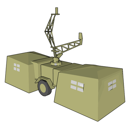 Military radar have a transmitting antenna receiving antenna receiver and processor to determine property of object vector color drawing or illustration Çizim