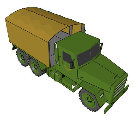 A Military truck is a vehicle designed to transport troops fuel weapons and military supplies to the battlefield vector color drawing or illustration Иллюстрация