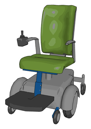 This power chair is six wheeled and non-folding in nature having different parts like chassis battery controller or arm-rest mounted joystick seat etc vector color drawing or illustration
