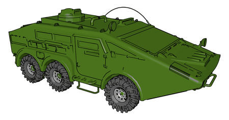 A military armored car is light weight wheeled armored fighting vehicle vector color drawing or illustration