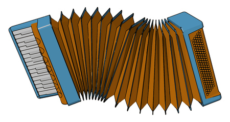 Accordion is family of box shaped musical instrument of the below derived free reed arrow phone type It is old and traditional instrument vector color drawing or illustration