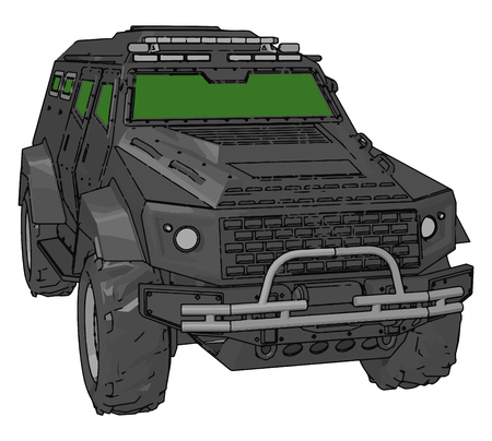 It is a typical type four wheel-drive vehicle for military purpose lighter than military truck vector color drawing or illustration Illustration