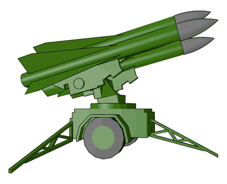 Missile is launched by launcher by army It is made up of metal and explosive vector color drawing or illustration