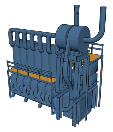 A type of machine medium in size have different parts like pump so many connecting pipes attached to a fixed line vector color drawing or illustration