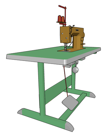 Sewing machine parts are foot pedal power chord and switch hand wheel reverse lever spool pin and holder bobbin winder pattern selector needle and needle clamp etc vector color drawing or illustration