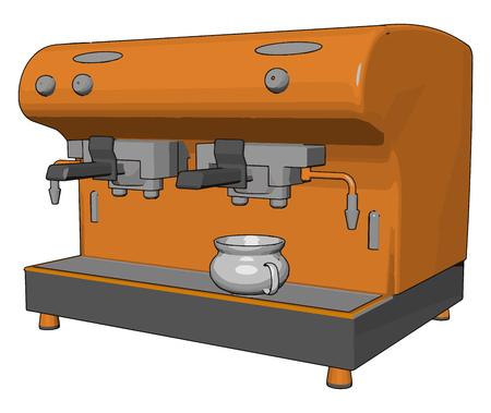 It is a small coffee vending machine mainly seen in café hotel mall office etc to pour instant coffee in your coffee mug vector color drawing or illustration