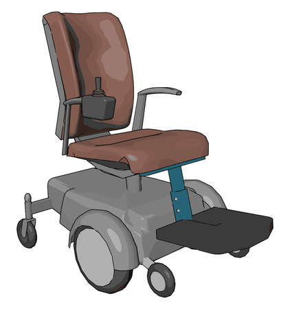 A motorized wheel chair mainly useful for disabled person to get around easily It is propelled by means of an electric motor rather than manual power vector color drawing or illustration Illustration