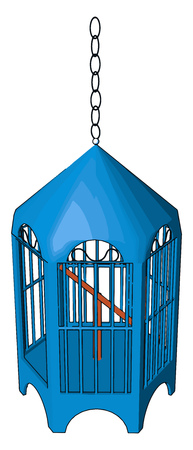 A bird cage is an enclosure often made of mesh bars or wires used to confine birds vector color drawing or illustration Çizim