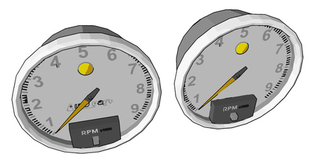 A tachometer is an instrument measuring the rotation speed of a shaft or disk vector color drawing or illustration