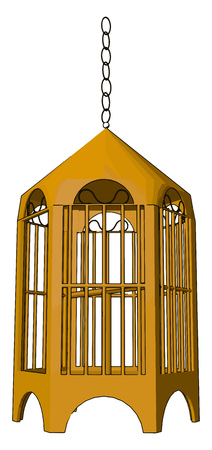 A birdcage is a cage designed to house birds as pets keep an animal in captivity or capturing vector color drawing or illustration