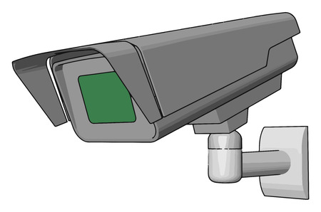 A CCTV camera is a closed-circuit television camera that can produce s or recordings for surveillance vector color drawing or illustration