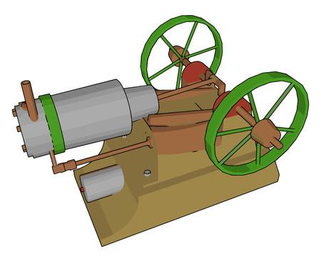 Basic parts of engine is engine block piston connecting rod crankshaft crankshaft casing or oil sump engine head valves camshaft etc vector color drawing or illustration