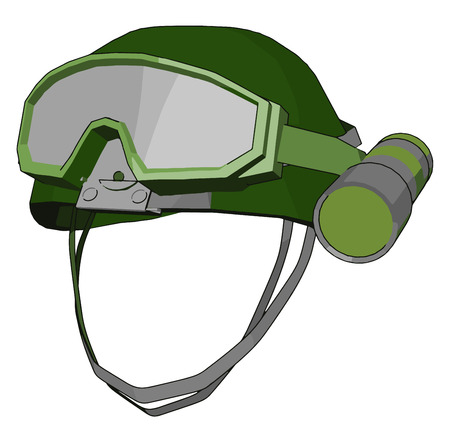 A safety helmets with night vision goggles for army use to protect head and eyes vector color drawing or illustration