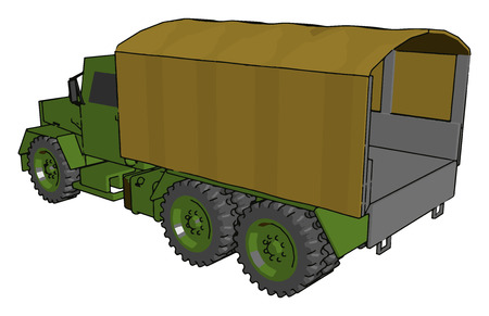 These truck composed of chassis a motor a transmission a cabin an area for equipments suspensions brakes engine cooling system vector color drawing or illustration Stock Illustratie