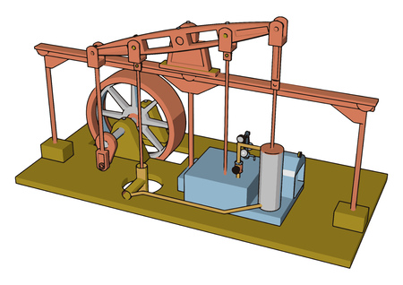 A steam machine is a heat engine that performs mechanical work using steam as its working fluid it uses the force produced by steam pressure vector color drawing or illustration