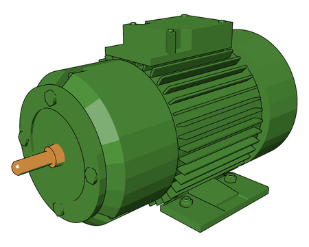 An electric motor is a machine that converts electrical energy into mechanical energy It is used in water pumping fan compressor elevators and refrigerator vector color drawing or illustration